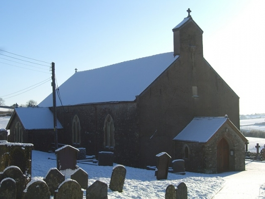St Teilo Church in Snow
